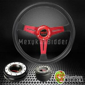 14 Black Red Steering Wheel Black Quick Release Hub Kit For Acura Rsx
