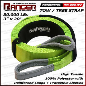 Ranger 3 X 20 30 000 Lbs Reinforced Tow Strap Tree Saver For Winch Recovery