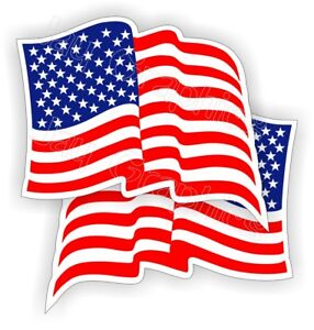 2x Waving American Flag Hard Hat Stickers Flags Decals Helmet Motorcycle Usa