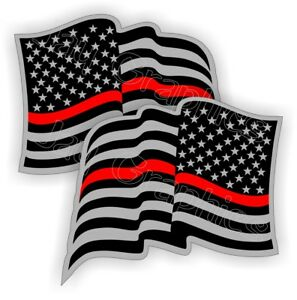 Firefighter American Flags Hard Hat Stickers Flag Decals Helmet Thin Red Line
