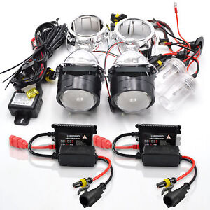 2 5 Bi Xenon Retrofit Projector Lens H1 Hid Conversion Kit Shroud 55w Headlight