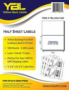 Ybl Shipping Labels 10 000 Half Sheet 8 5 X 5 For Click Ship Ups Paypal