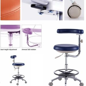 Mobile Dental Nurse Stools Medical Dentist Chair Surgical Drs Stools Pu Leather