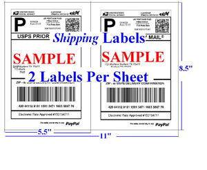 S 1400 Shipping Labels Self Adhesive Half Sheet 5 5 X 8 5 Usps Ups Ebay Fedex