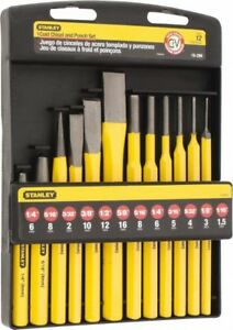 Stanley 12 Piece Center Pin Starter Punch Cold Chisel Set 3 8 To 5 8 Ch