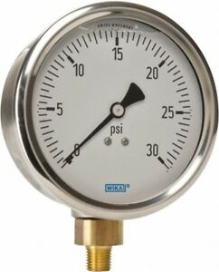 Wika 4 Dial 1 4 Thread 0 30 Scale Range Pressure Gauge Lower Connection M
