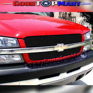 For Chevy Silverado 1500 2003 2004 2005 Black Upper Main 2pc Overlay Grilles