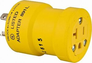 Woodhead Electrical 1 Outlet 125 Vac 20 Amp Yellow Single Outlet Adapter
