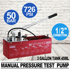 Hydraulic Manual Pressure Test Pump 726psi Low Volume Double Valves Great