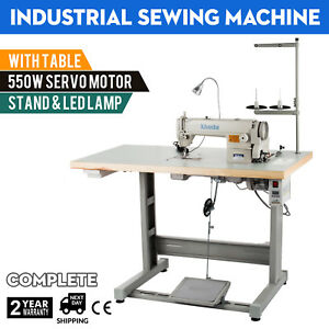 Sewing Machine With Table servo Motor stand led Lamp Stitcher 550w Manual