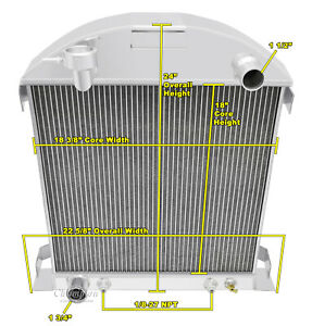 1928 1929 Ford Model A W Ford Configuration 3 Row Champion Aluminum Radiator