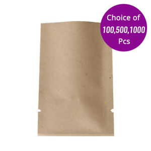 2 75x4in Wholesale Kraft Paper Open Top Pouch Bag With Heat Seal Machine 602