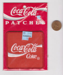 Vtg Coca-Cola Patch-Coke-Red-90's NOS-Iron On-Square