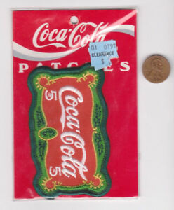 Vtg Coca-Cola Patch-Coke-Red Green-90's NOS-Iron On-5 cent Sign