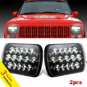 7x6 5x7 Dot Led Headlight Halo Drl For 86 95 Jeep Wrangler Yj 84 01 Cherokee Xj