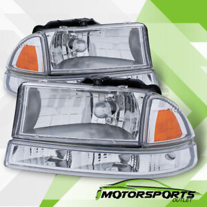 1998 2004 Dodge Dakota 1998 2003 Durango Chrome Clear Lens Headlights Pair