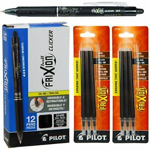Pilot frixion Clicker Erasable Pen gel Ink Black 12 Pens With 2 Refills Set New