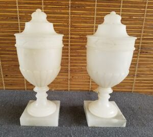 Antique French Empire Alabaster Marble Hurricane Urn Mantle Lamps W Covers