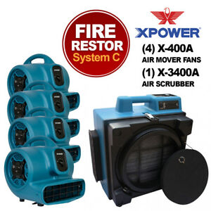 Xpower X 3400a Pro Air Purifier Cleaning System 4xair Movers 1xair Scrubber blue