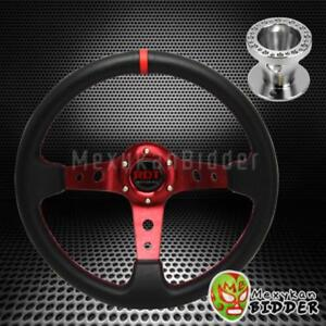 350mm Red Deep Dish Steering Wheel Aluminum Hub Kit For Acura Integra 94 01