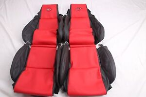 Custom Made 84 88 C4 Corvette Leather Seat Covers For Standard Seats Black Red