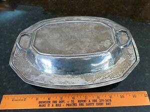 Vintage Heavy Silver Plated 2 Sided Server Butter Gravey Monogrammed