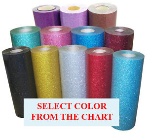 5rolls Pack 20 x3ft Heat Transfer Vinyl Glitter 37color Option For Cutter press
