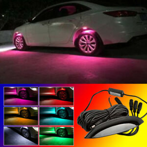 4x Pink Led Car Wheel Well Neon Glow Lights Fender Lamp Strobe Breathing 3 Mode