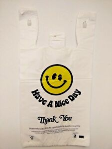 T shirt Thank You Plastic Grocery Store Shopping Carry Out Bag Bags Smiley Face