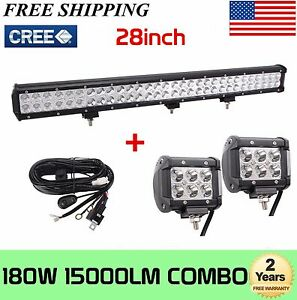 180w 28 inch Cree Led Combo Light Bar Offroad Fog Lamp 2x4inch Pods wiring Kit