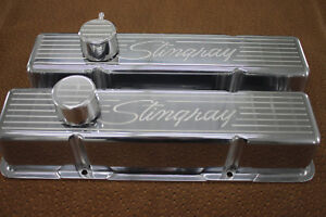 Corvette Stingray Script Chevy Sb Small Block Tall Valve Covers Vintage V8 Set