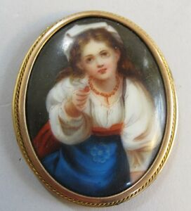 Fine Antique 1 75 German Hand Painted Porcelain Plaque C 1880 Antique Painting