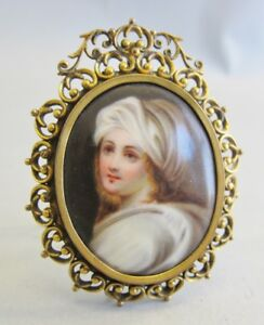 Fine 19th C Porcelain Portrait Of A Young Italian Girl C 1880 Easel Stand