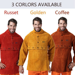 Ap 2188 2189 Fire Resistant Cowhide Leather Welding Cape Sleeves W 20 Bib Set