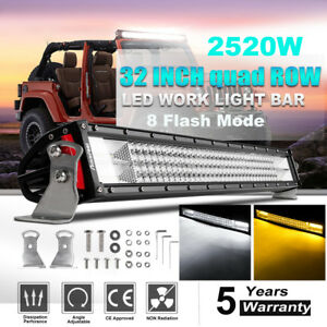 Cree 720w 32inch Curved Led Work Light Bar Offroad Truck Suv 34 Vs Tri Row 52