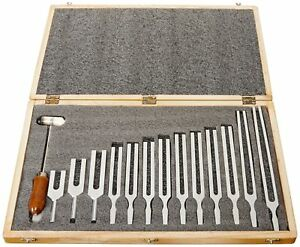 United Scientific Tfbox13 Tuning Fork Wooden Box Set With Mallet 13 Forks New