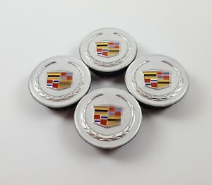 4x Cadillac Cts Dts Srx Sts Ats Colored Wreath And Crest Logo Center Caps 191657