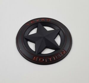 Metal Black Red Texas Edition Star Emblem Badge Sticker Fit Chevy Ford Dodge