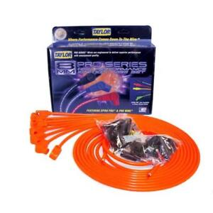 Taylor Spark Plug Wire Set 78351 Spiro Pro 8mm Hot Orange 90 Universal
