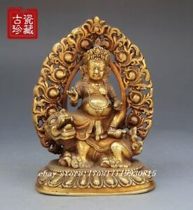 Old Chinese Brass Hand Carved Mahakala Buddhism Statue