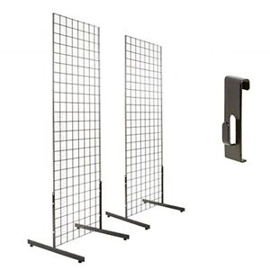 2 x4 Gridwall Panel Tower T base Display 12 Utility Hooks Black 2pk