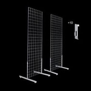 Only Hangers Gridwall Panels 2 X 4 With T leg Stands And Utility Hooks Chrome