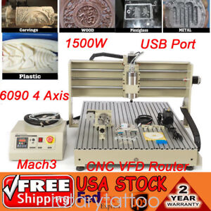 Usb 1500w Vfd Cnc Router 6090 4 Axis Engraver Drilling Milling Engraving Machine