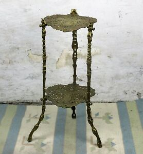 Ornate French Brass Pedestal Table Plant Stand 2 Tier Hollywood Regency