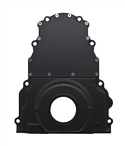 Black Aluminum Two Piece Timing Chain Cover No Cam Sensor Hole For Chevy Ls