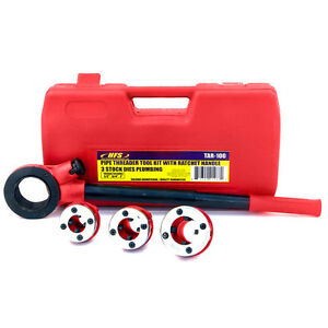 Hfs r Pipe Threader Tool Kit Ratchet Handle 3 Dies Set 1 2 3 4 1 Case
