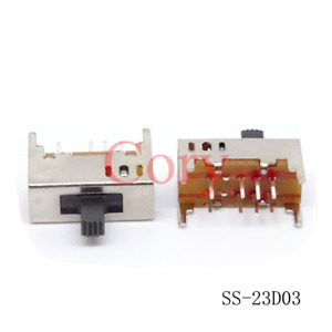 10pcs Vertical Slide Switch 8 Pins 3 Position 2p3t Contact Type Dc 50v 0 5a Dp3t