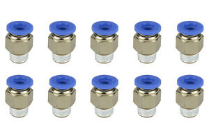 10x Temco Pneumatic Air Quick Push To Connect Fitting 1 8 Npt To 1 4 Hose Od