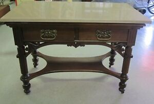 Antique Victorian Walnut Marble Top Table Circa 1880