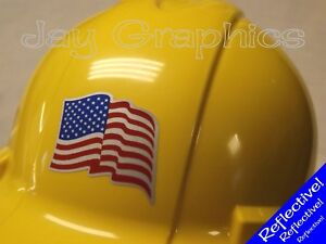 Reflective American Flag Hard Hat Sticker Flags Decal Helmet Motorcycle Usa